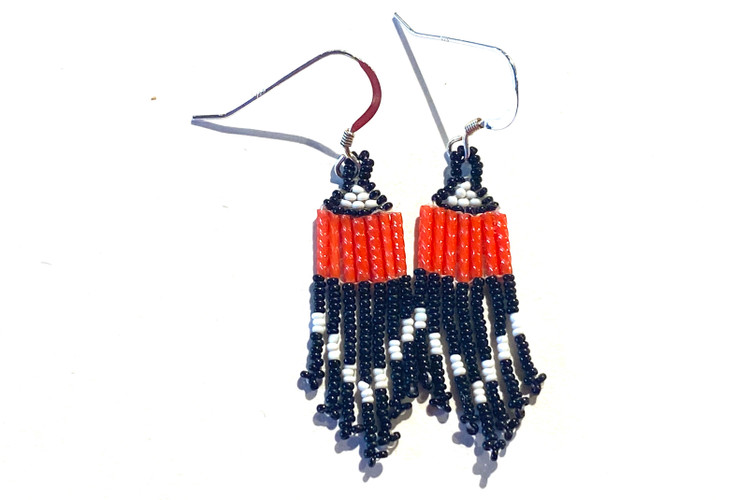 Micro Bead Earrings - Black/Red