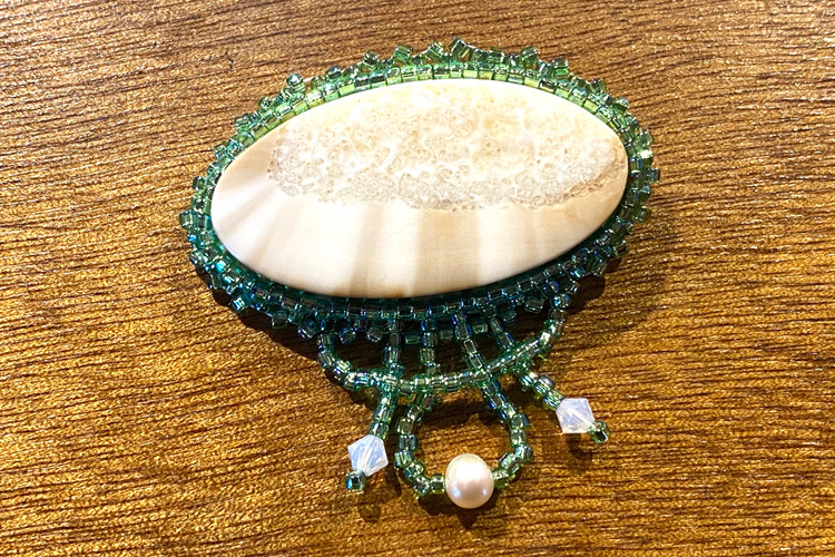 Fossilized Ivory Beaded Brooch