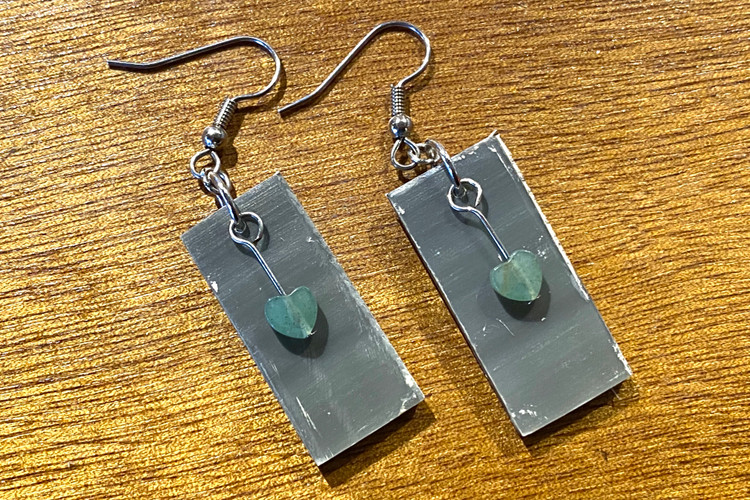 Old Baleen Earrings - Green Heart