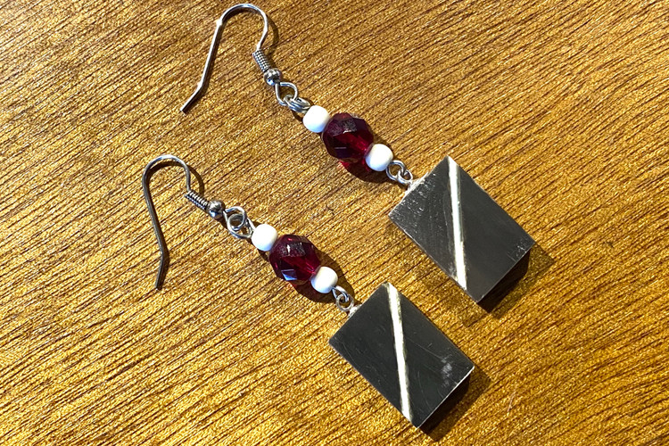 Baleen Earrings w/ Ivory Inlay - Red