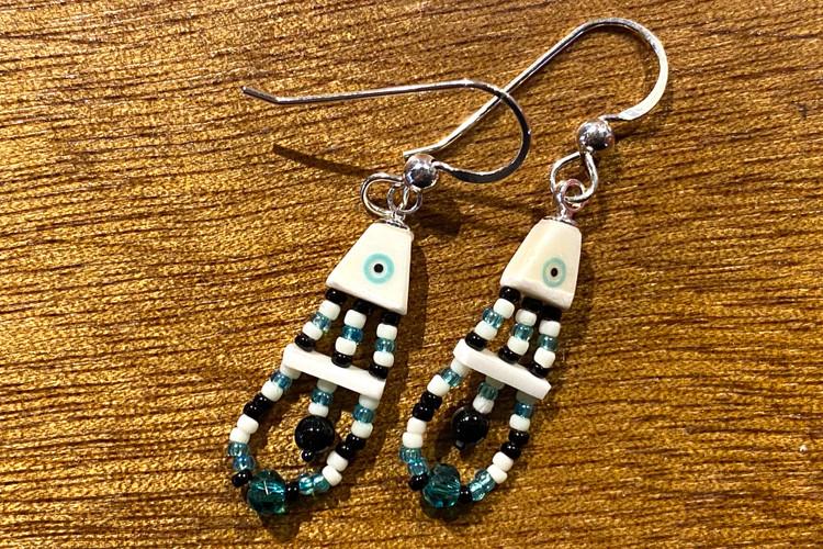 Beaded Ivory Fish Earrings - Green