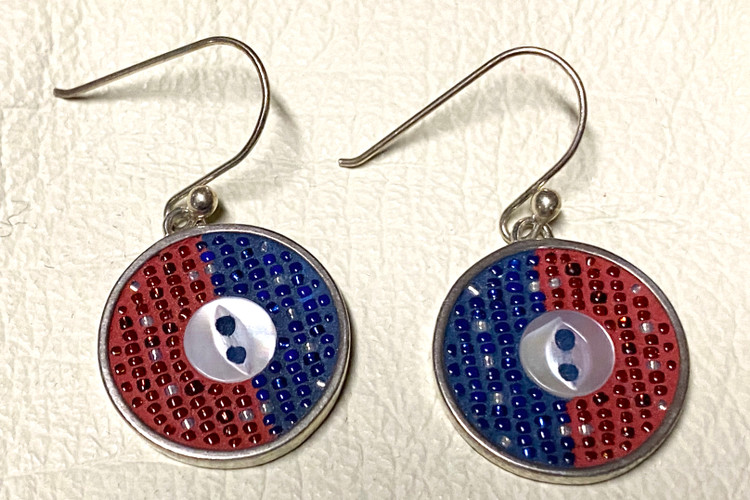 Micro Mosaic One Button Earrings