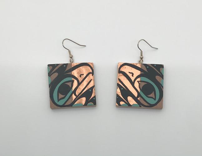 Eagle Copper Square Earrings