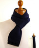 Mens Skinny knitted scarf navy blue