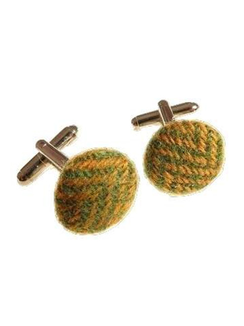 Green tweed cufflinks