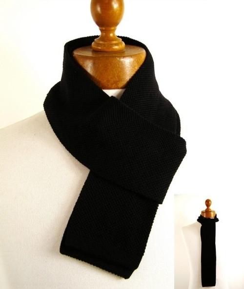Mens skinny black wool scarf