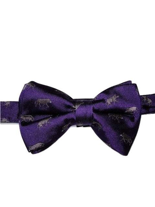 Animal themed silk bow tie