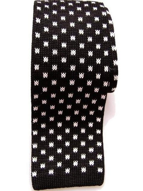 Black white knitted silk tie