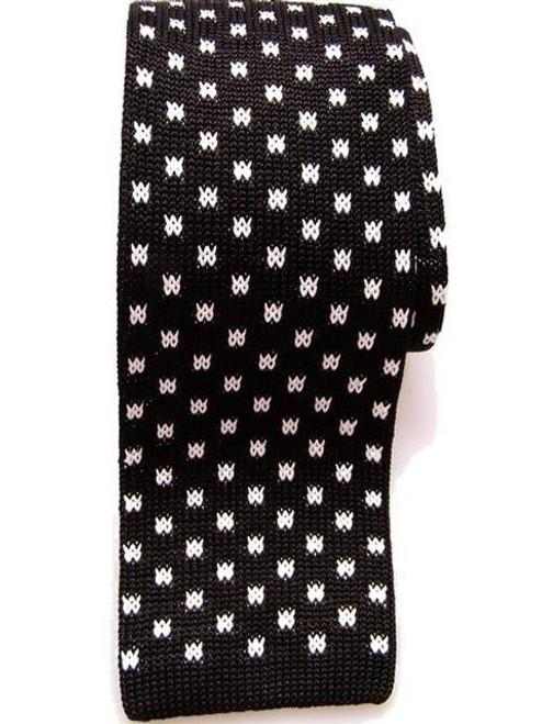 Black white knitted silk tie