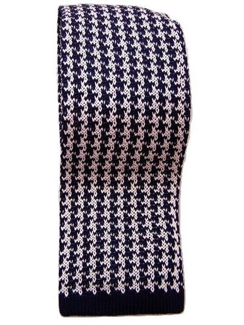 Knitted silk tie navy white