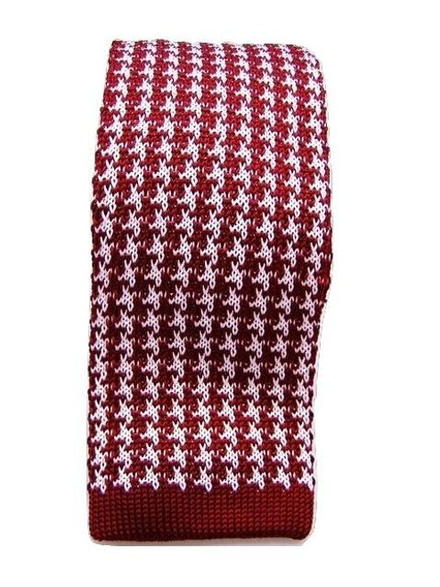 Knitted red white silk tie