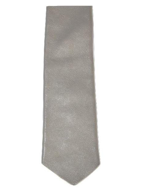 Slim grey leather tie