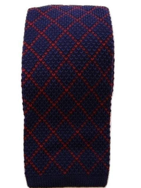 Blue red knitted wool tie