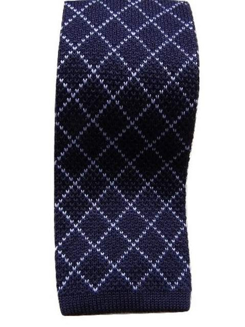 Knitted wool tie navy blue