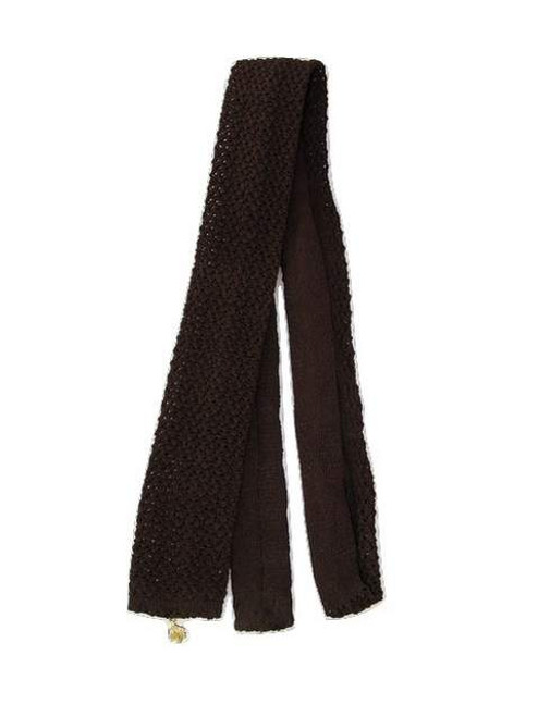 Dark brown slim knit tie