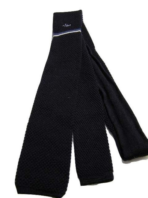 Knitted slim navy wool tie