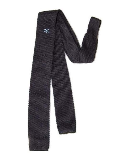 Navy blue skinny knit tie