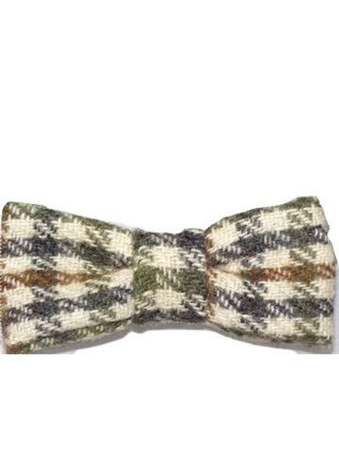 Checked tweed bow tie
