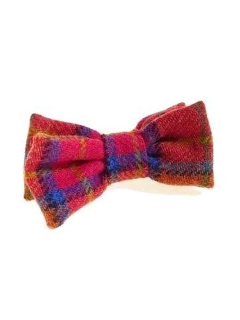 Plaid tweed bow tie