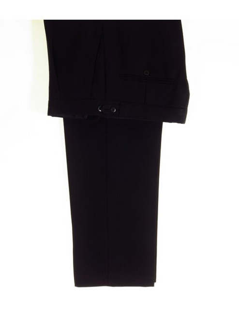 Black herringbone wool trousers