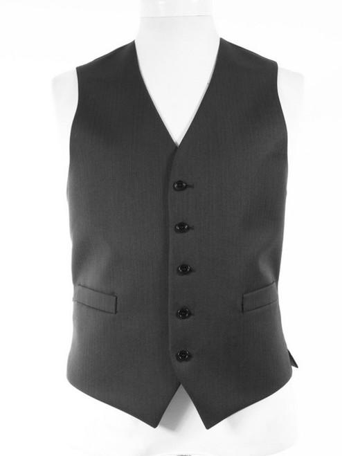 Grey Waistcoat Herringbone Wool