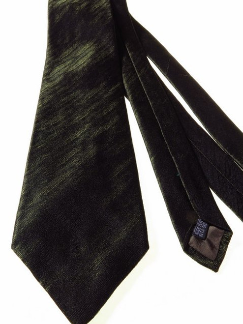 Dark olive green textured silk tie