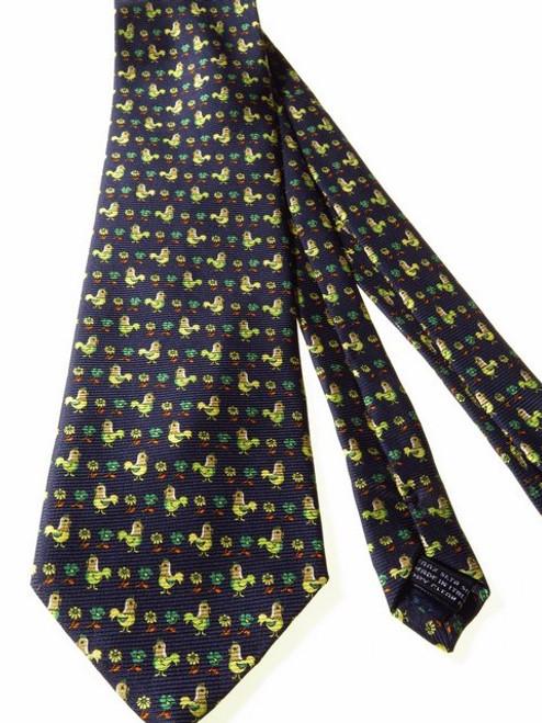 Chicken themed silk tie
