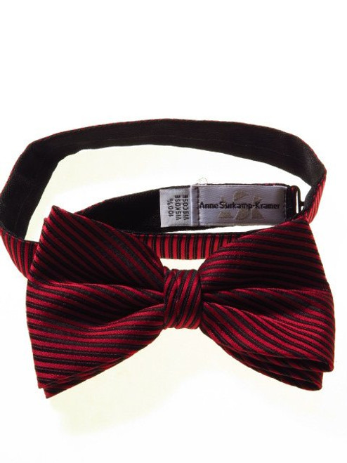 Red black striped bow tie