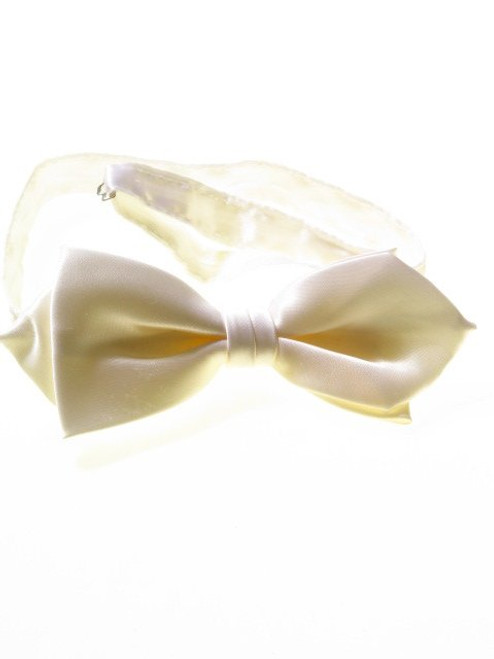 Ivory cream pointed bow tie