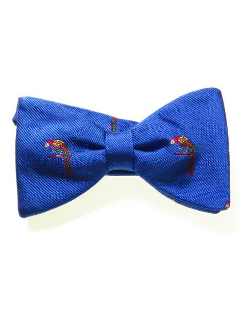 Blue silk parrot themed bow tie