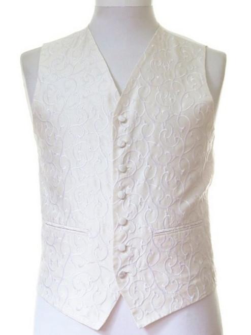 Ivory scroll wedding waistcoat