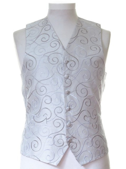 Silver grey scroll wedding waistcoat