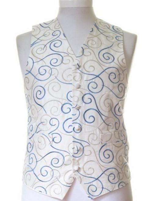 Ivory teal wedding waistcoat