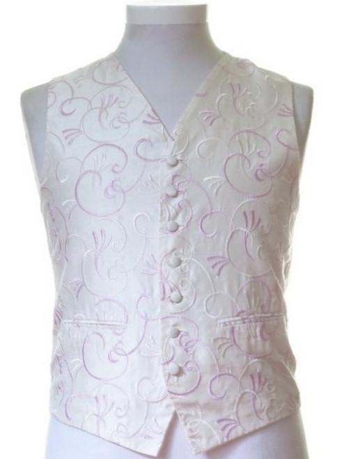Ivory pale pink patterned wedding waistcoat