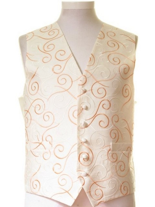 Ivory orange swirl wedding waistcoat