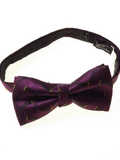 Purple black yellow bow tie