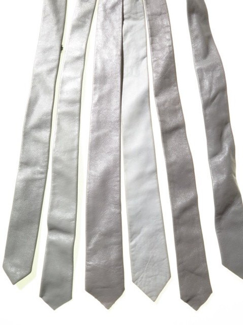 Genuine leather mens tie grey
