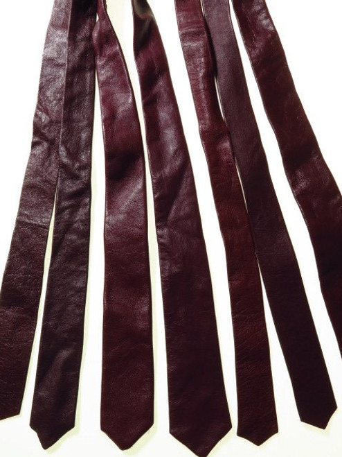 Genuine leather tie burgundy