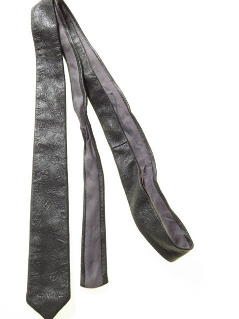 Embossed leather tie mens