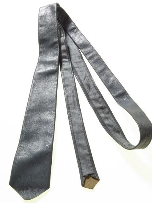 Narrow grey leather tie