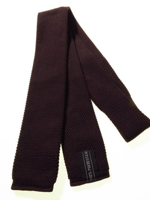 Dark brown slim knit necktie
