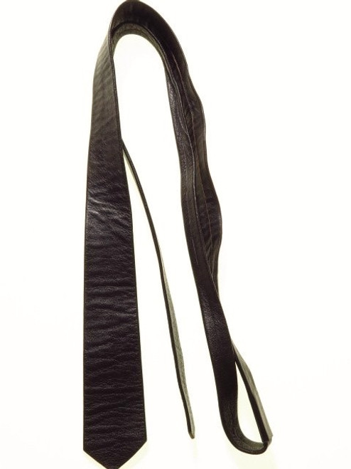 Leather skinny tie