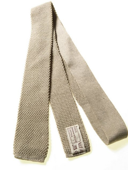 Slim Taupe Knitted Cotton Tie