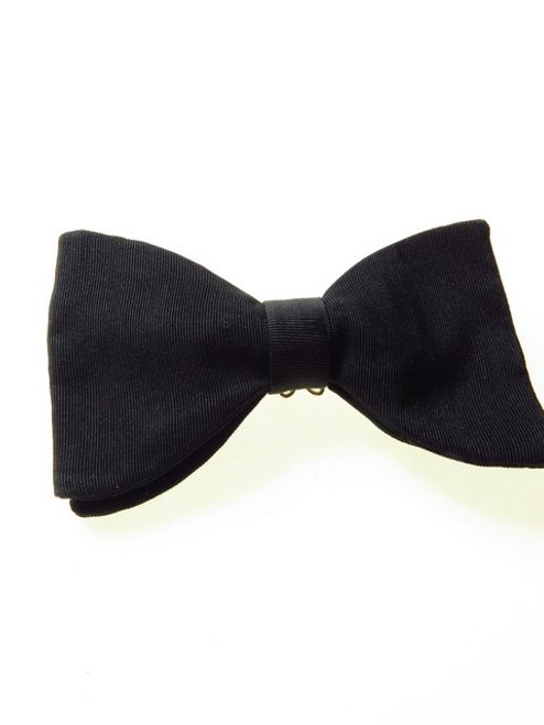 Black Silk Grosgrain Bow Tie