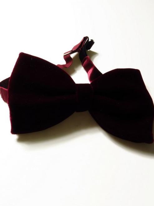 Large Maroon Velvet Bow Tie