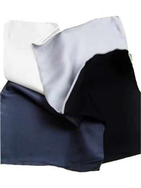 Black and silver silk pocket square
