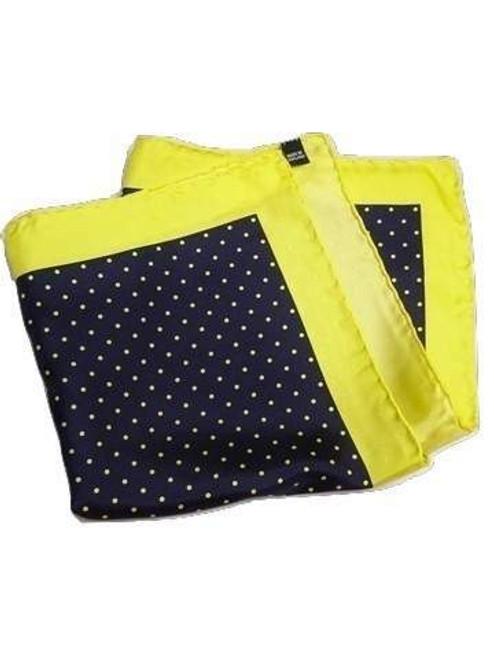Navy yellow silk pocket square