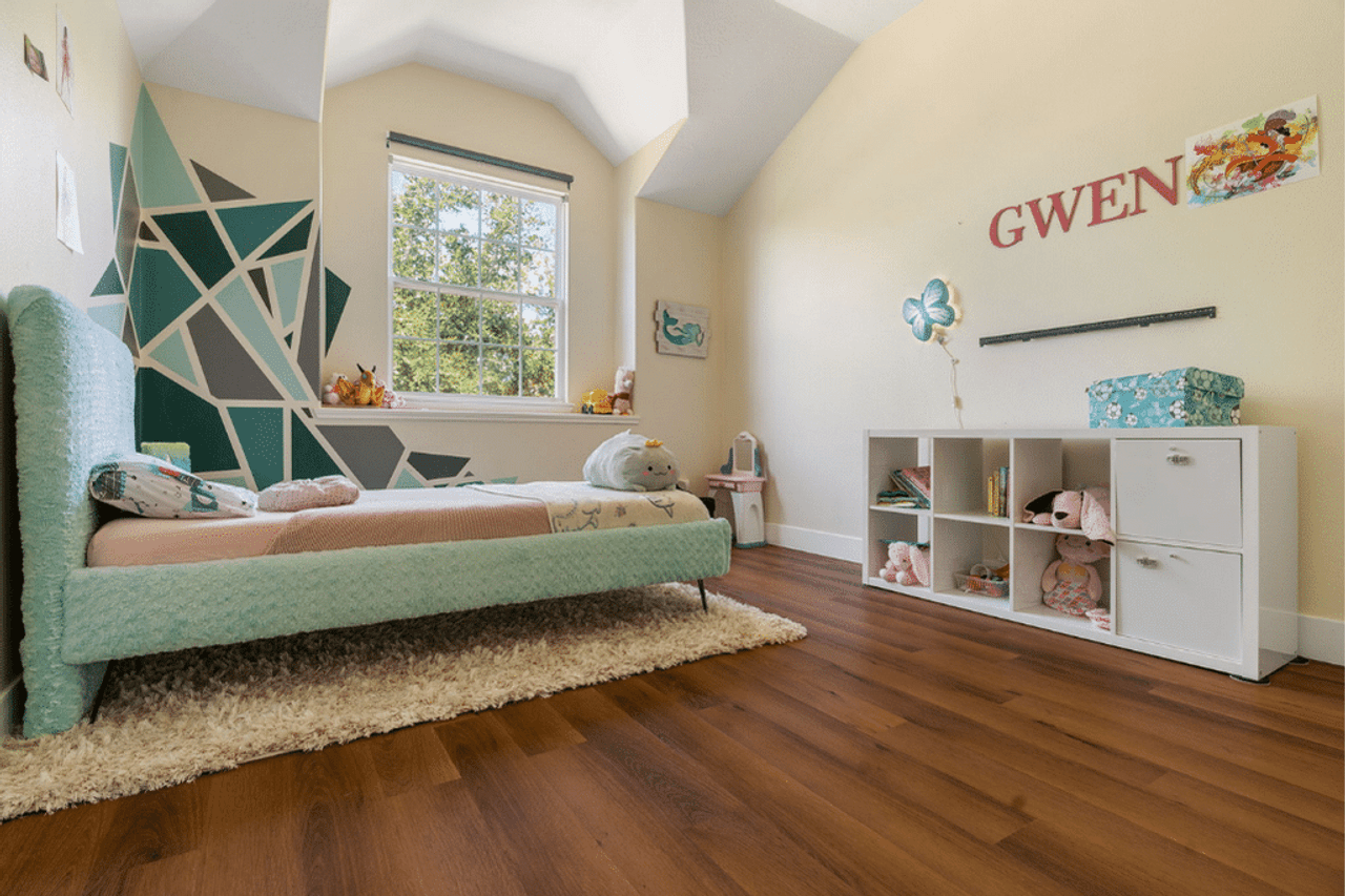 Brenwick Base, Modin's Rustic Cherry Shade, Makes the Perfect Playroom | Kaitlyn's Story