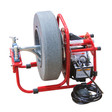 "DM138 sink auger machine with 8"" and 14"" enclosed poly cable drums that run 1/4"" x 37' drain cable and 3/8"" x 90"" cable snake"