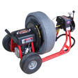DM30SPB drain machine showing large tires for easy transportation for residential drain jobs